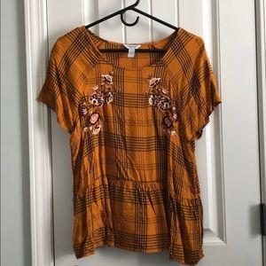 Orange Arizona Jean Co Tartan Top - XL w/ Floral